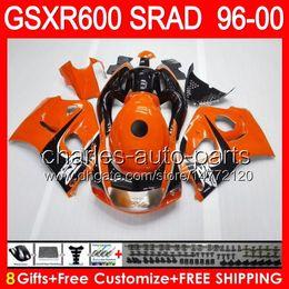 brillant 8gifts orange pour SUZUKI GSXR 600 96 97 98 99 00 GSX-R600 58NO10 GSXR-600 96-00 SRAD GSXR600 1996 1997 1998 1999 2000 Carénage noir à partir de 98 gsxr carénage orange noir fabricateur