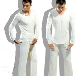 Wholesale Men s Yoga Twinset Tops pants Comfortable Ice Silk Fabric Sleep Sleepwear Causal Home Family Pyjamas Night Bath Clothes Sweater