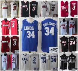 Wholesale A1 Top Quality new arrival lincon Ray Allen Miami Dwyane Wade Heat men signed retro throwback jersey