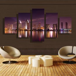 5p modern Home Furnishing HD picture Canvas Print art wall of the sitting room children room decoration theme -- City night scene#39