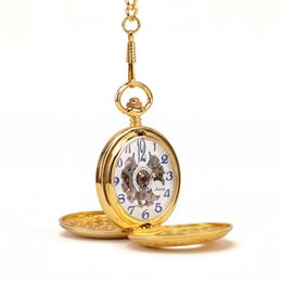 Wholesale Luxury Gold Two Sides Open Cases Skeleton Blue Arabic Numbers White Dial Hand Wind Mechanical Pocket Watch