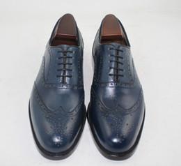 Men Dress shoes Custom handmade shoes Oxfords shoes Genuine calf Leather Wingtip brogue Shoes color dark Navy HD-234
