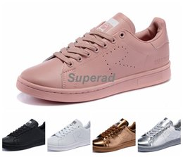 Raf Simons x Originals Stan Smith 2015 Gold Silver White Black Pink Running Shoes Sneakers Classic Stan Smiths Superstar Shoes 36-44
