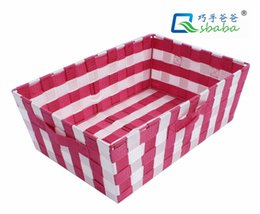 Wholesale Qsbaba polypropylene ribbons reinforced skeleton plastic spraying antirust portable baskets pure manual weaving and become product size
