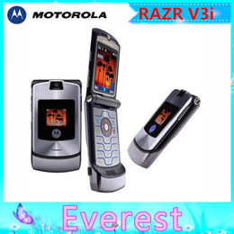 Wholesale Original Flip phone Motorola v3i refurbished mobile phone All GSM Carrier work AT T T Mobile Russian Keyboard Support one year warranty