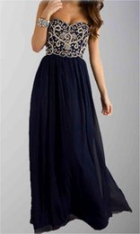 Wholesale Famous Design Sweetheart Embroidery Lace Appliques Long Prom Dresses Dark Navy Cheap From Most Trusted Online Retailer In China