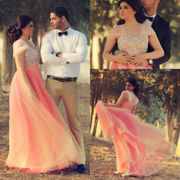 Elegant Coral Sweetheart A Line Prom Dresses With Convertible Sleeve Beads Handmade Floor Length Sexy Prom Dress