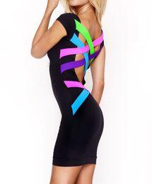 2016 New Women Backless Black Bandage Dress Sexy Bodycon Dress XS- XXL Vestidos Plus Size Dress Vintage Summer Casual Dress D90