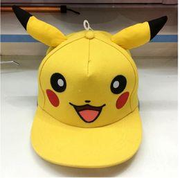 Wholesale Hot Children Poke monster Cosplay Cap hat yellow Novelty kids boys girls cartoon Pikachu Poke Go Hat charms Costume Props Baseball cap