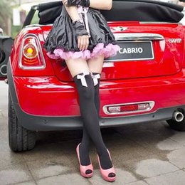 2016 new style Hot Sexy Women Naughty Schoolgirl White   Black Bow Top Maid Thigh High Stockings