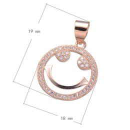 Phone Rope Charms Smiley Face CZ Micro Inlay Brass Pendant Plated & Hollow More Colors For Choice 19x18mm Hole:About 4mm 10PCS Lot