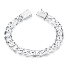 Silver Fill Fashion Bracelet Men Boys 925 Sterling Silver Jewelry Curb Figaro Chains Geometric Modeling Silver Bracelet