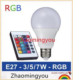 YON E27 RGB LED Lamp 3W 5W 7W LED RGB Bulb SMD5050 LED Light 110V 220V Home Decoration 16 Colors Change IR Remote Controller A65-A80