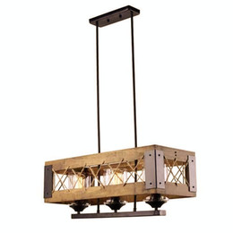 Industrial Style 3 Lights Ceiling Lamp, Vintage Lamp for Kitchen Island, Modern Wood Pendant With Glass Shade, American Industrial Design