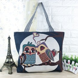 DIY Cartoon Women Shoulder Bag Canvas Owl Handbag Bags Shopping Beach School Travel Shoulder Bags
