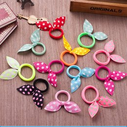 Cute Fabric Rabbit Ear girls woman Elastic hairbands Hair rope Headband for Kid Child free shipping