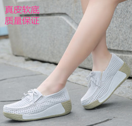 HKR 2016 Summer wedges casual shoes women suede leather platform shoes cut-out breathable wedges shoes ladies boat shoes