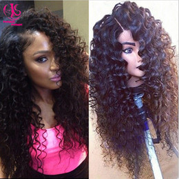 Beauty Free shipping heat resistant kinky curly synthetic lace front wig nature black wig glueless curly wig for black woman