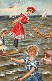 Wholesale Decorative Victorian Edwardian Beach Seaside Scenes Pure Hand Painted Art Oil Painting On Canvas any customized size accepted