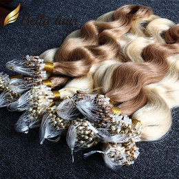 Wholesale Brazilian Hair Loop Micro Ring Hair Extensions quot quot and Blond Hair Body Wave Bella Hair g strand g pack