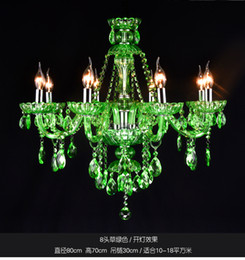 Green Crystal Lamp Hall Hanging Lamp Continental Candle Crystal Chandelier Bar Cafe Lighting
