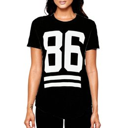Summer Cotton Long T-shirt For Women Celebrity Number 86 Print Tops Long Loose Hip Hop American Baseball Sports Tee Blusas