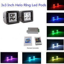 Wholesale 2Pcs quot RGB Color Changing Led Cubes Pods with Halo Ring Remote Controller for wd SUV UTE Offroad Truck ATV UTV
