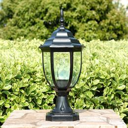 Wholesale HOMESTIA Black Bronze aluminum Pillar Lamp V V E27 Outdoor Waterproof Heat resistant Fence Post Cap Pillar Lights Path Lamp