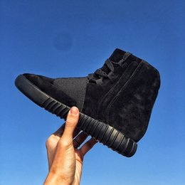 Wholesale Mens Shoes Kanye West Boost Black Athletics Boots Ankle Boot Basketball Shoes With original Box Sports Boots cheap Women Shoes