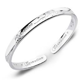 925 sterling silver bracelets jewelry charm bracelets bangle carnation flower letter carven chinese blessing new arrival
