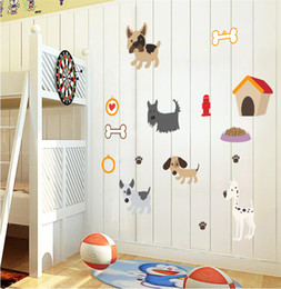 Cartoon Poodle Shar Pei puppy spots DIY Generic Decal Wall Sticker Kids Room Decor Mural living room vinyl Inspiration 5pc