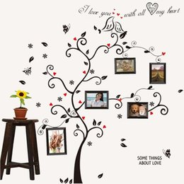 Wholesale Small Leaves Plants - Hot Sale Kiss Bird Tree Heart Leaves Black Photo Picture Frame Decal Removable Wall Decals Large Wall Stickers for Living Room Bedroom