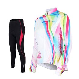 Tasdan Ladies Cycling Jerseys Sets Full Sleeve Cycling Uniforms Sports Suit 3D Gel Pad Colleague Cycling Jerseys