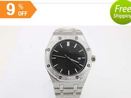 Wholesale Top Quality Full Stainless Steel Automatic Men s Wristwatch ST Royal Oak Transparent Back Watch Black Dial Brand Watch With Calendar
