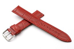 Ventas calientes personalizadas de cuero de vaca hombres mujeres correa de reloj 20 mm de alta calidad a prueba de agua roja hebilla de aguja reloj de banda suministros de punto reloj accesorios
