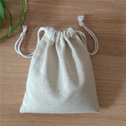 Hand Made High Quality Custom Logo Wedding And Birthday Parties Favor Holder Cotton Linen Gift Bags Small Drawstring Bags