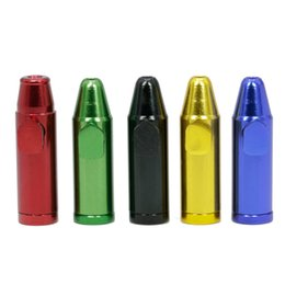 Mini Smoking pipe Bullet shape Length 52MM Cigarette filter pipe Multi Colors Aluminum Tobacco Hand Pipe
