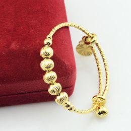 Wholesale DIA mm mm Baby Kids K Gold Filled Plated Bangles Adjustable Size Carve Ball Beads Hand Bracelets Gift