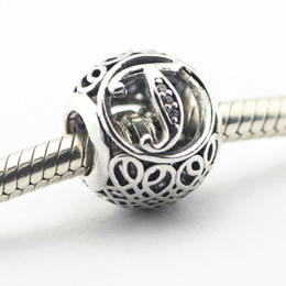 Fits Pandora Charms Bracelet 100% 925 Silver Letter Charm Alphabet T Vintage Beads Women DIY Jewelry Wholesale