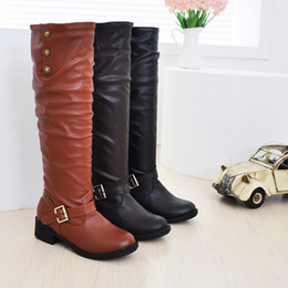 NOUVEAU Mode femmes hiver PU cuir chaud genou bottes hautes femmes moto occasionnels longue neige bottes plus grande taille: 34-43 supplier long leather women boot à partir de longue en cuir femmes boot fournisseurs