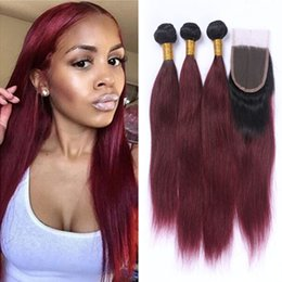 Ombre Straight Wine Red Hair 3 Bundles With Lace Closure Free Middle Part Ombre #1B 99J Burgundy Hair Weaves With Top Closure