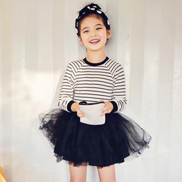 2017 New Children Girl Spring Autumn Long Sleeve Cotton Tutu Panelled Dresses Girl Baby Infant Toddler Casual Striped Skirt Layered Dress