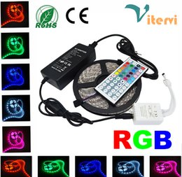 LED Strips Slamp 5M 5050 SMD 300leds RGB Strips light 24Keys 44Keys IR Remote Controller Waterproof RGB Power supply Adapter