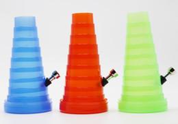 Shisha humo de colores en venta-collapsibl colorido Bong VIAJE DEL TUBO DE AGUA MINI tubo de plástico BONG HIERBA tabaco para pipa cachimba del shisha pipas de fumar EN STOCK