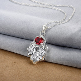 Christmas gift fashion octopus shape 925 silver Pendant Necklaces STPN119B, best gift red gemstone sterling silver jewelry necklace