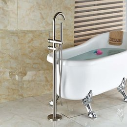 Wholesale Good Quality Free Standing Bathtub Mixer Taps Floor Mount bathroom tub Filler Brushed Nickel Finish