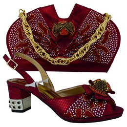 Wholesale Cherry Lady Italian Leather Handbags And Matching Shoes Set With Stones Fashion African Shoes And Bags To Match MM1012