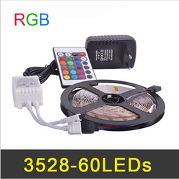 LED Strip light RGB SMD3528 5meter 60pcs m & Remote Controller & LED Strip Power Adapter 2A DC12V Non-waterproof with EU US plug