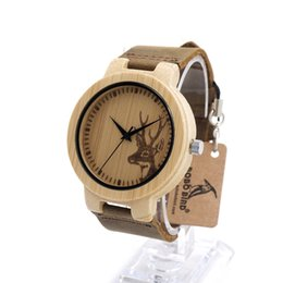 Engraved Elk Head Natural Wooden Watches Men With Genuine Cowhide Leather Lovers Luxury Wristwatch Mens Wood Watch as Gifts