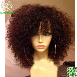 Short Human Hair Wigs Curly 100% Unprocessed Peruvian Hair Full Lace Wig Kinky Curly Wig With Bangs Unprocess Hair Lace Front Wig